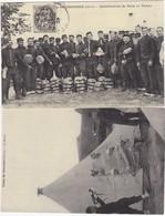 CAMP DE SISSONNE : Le REVEIL, DISTRIBUTION DE PAIN ET TABAC  (carte D'autrefois) Lot De 2 Cartes - Militaria