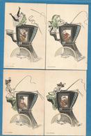 MOUTON / Lot 4 CPA Coquines / Femme Et Cocher / Calèche. - Illustrateurs & Photographes