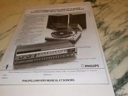 ANCIENNE PUBLICITE CHAINE HI FI  PHILIPS 1972 - Autres