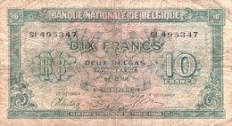 Belgium 10 Francs, P-122 (1.2.1943) - Good - [ 2] 1831-...: Belg. Königreich