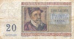Belgium 20 Francs, P-132b (3.4.1956) - Good - [ 2] 1831-...: Belg. Königreich