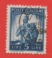 1945-48 (13) Democratica Lire 5 Pos Filigrana ND Carta Grigia - Variedades Y Curiosidades