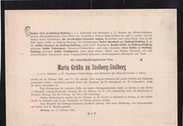 BRESLAU Maria Gräfin Zu STOLBERG-STOLBERG 70 Ans 1905 Format A4 Horizontal FALKENHAYN SCHAFFGOTSCH - Décès