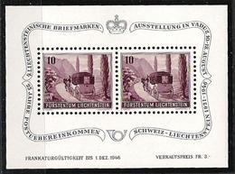 """Liechtenstein 1946: """"Postkutsche"""" Zu W18 Mi 248 Yv 223 ** MNH Zu W19 Mi Block 4 Yv BF 7 * MLH  (Zu CHF 60.00 - 50%) - Blocks & Sheetlets & Panes"""