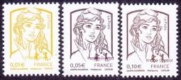 France Marianne De La Jeunesse Par Ciappa Et Kawena N° 4763 - 4764 - 4765 ** Les Timbres Gommés,  0.01 + 0.05 + 0.10 - 2013-... Marianne De Ciappa-Kawena