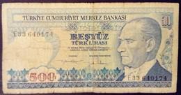 Turquie Turkey Turkiye 1970 500 Livres Turques Turkish Pounds Besyuz Turk Lirasi - Turkije