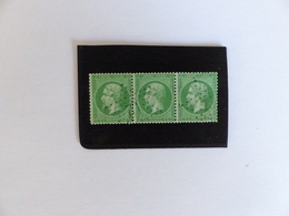 NAPOLEON  N°  20  EN  BANDE  DE  TROIS  OBLITERES  COTE  50 € - 1862 Napoléon III