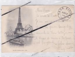 PARIS (75) Tour EIFFEL -Aout 1900 - Carte Précurseur / Dos Cachet Sommet De La Tour ,4é Plate Forme - Tour Eiffel