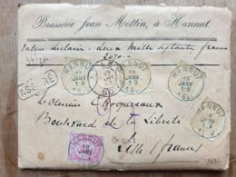 """Lettre  """" ASSURÉ """" Brasserie JEAN MOTTIN 2070 Fr-   HANNUT  19/01/1892  - LILLE Nord - - Belgium"""