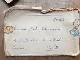 Lettre  ASSURÉ 1900fr HANNUT 17/12/1912 Lille Nord - Belgium