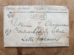 Lettre ASSURÉ 1000 Fr HANNUT 10/01/1888 Lille Nord - Autres
