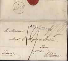 Lettre De Londres Pour La France MP Marque Postale ANGLETERRE Linéaire Taxe Manuscrite + Taxe 2 Rouge Verso FM 7 - 1801-1848: Précurseurs XIX