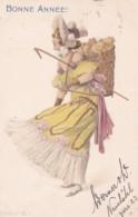Illustrateur Non Signé Style Vienoise Femme Portant Un Panier Avec Des Cochons Série 705 N°5 (lot Pat 96) - Illustrateurs & Photographes