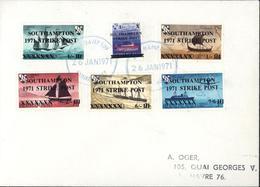 YT Carriage Label Herm Island Bateaux England Normandy ... Surchargés Southampton Strike Post 1971 CAD 26 Janvier 1971 - Emissione Locali