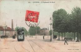 80 Amiens Esplanade St Saint Roch Tram Tramway  Cpa Carte Animée Colorisée - Amiens