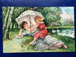 """Cpa--gaufrée-""""Au Bord Du Lac-maman&fille-cygnes-belle époque--(my Ref 327) - Escenas & Paisajes"""