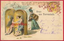 Lithographie 'Gruss Aus Travemünde' (Lübeck) ~ 1899 - Luebeck-Travemuende