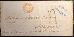 """Réunion Lettre St Denis Du 11 Aout 1855 Taxe Tampon Dateur Rouge D'entrée """"colonies Fra Pauillac"""" Intéressant ! - Réunion (1852-1975)"""