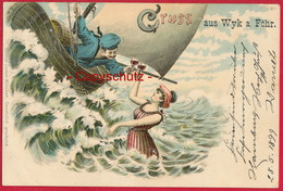 Lithographie 'Gruss Aus Wyk' (Föhr) ~ 1899 - Föhr