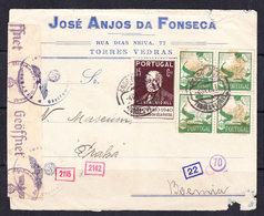 ESC -360 LETTER FROM PORTUGAL TO PRAHA. GERMAN WAR CENZURA. 1941 YEAR. - Covers & Documents
