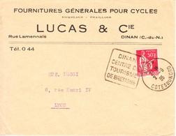 Flamme Daguin De Dinan-cotes Du Nord-2/9/1935-centre De Tourisme De Bretagne - Marcophilie (Lettres)