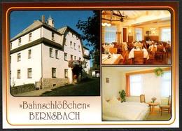 D1858 - TOP Bernsbach Bahnschlößchen Gaststätte - Verlag Bild Und Heimat Reichenbach Qualitätskarte - Bernsbach