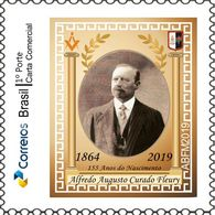 Brazil -   Alfredo Fleury ,155 Years Of Birth   -' In Memoriam ' - Freemasonry