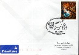 LETTRE AUTRICHE 2001 - OBLIT.TEMPORAIRE - 50E ANNIV. DU PRIX NOBEL DE LA PAIX A ALBERT SCHWEITZER - Persönlichkeiten