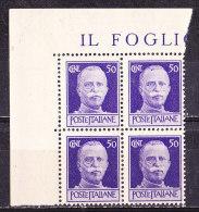 Italia 1944-Luogotenenza - Imperiale Senza Fasci Filigrana Corona Cent 50 Violetto Quartina  Nuova MNH**simile - 5. 1944-46 Lieutenance & Umberto II