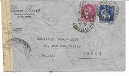 1939- Lettre Avec CONTROLE  POSTAL MILITAIRE  De GIRON FRERES ST ETIENNE Vers HANOI TONKIN- Type PAIX + CERES  -2 SCANS - Poststempel (Briefe)