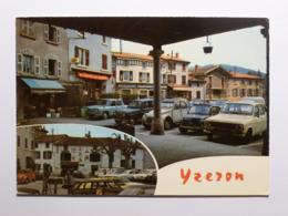 YZERON (69/Rhône) - Place Avec Nombreuses Voitures : CITROEN 2 CV , RENAULT ... / Epicerie Enseigne KRONENBOURG - Autres Communes
