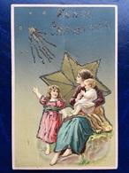 """Cpa--gaufrée-""""Maman&enfants -étoiles Brillantes""""--(my Ref 340)-glitters-1910 - Christmas"""
