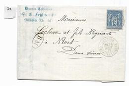 Lettre Type Sage 15 C, Soubise (Feytis Denrées Coloniales) Vers Niort, 1879. Marque B M (boite Mobile) - Marcophilie (Lettres)