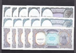 EGYPT 5 10 PT. PIASTRES 1999 P-188a B 189a SIG/GHAREEB LOT 15 UNC NOTES X5 SETS - Egypt