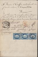 YT 60 Cérès Bande De 3 Variété Filet Sur 1 Timbre Recommandé R Rouge 1404 CAD Carpentras 19 1 1872 Tribunal Instance - 1871-1875 Ceres