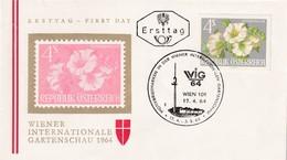 Austria 1964 Cover: Flora Flowers Fleur: WIG 64 Wien Wiener Internatioale Garden Schau; Stockmalve (Alcea Rosea) - Pflanzen Und Botanik