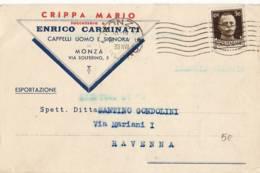 4055 MONZA CARMINATI CRIPPA CAPPELLI - Marcophilie