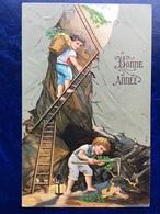 """Cpa--gaufrée-""""Mine D'or-Chercheurs D'or""""--(my Ref 343)-1910 - Nouvel An"""