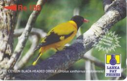TARJETA DE SRY LANKA DE Rs.100 DE UN CEYLON BLACK ORIOLE (32SRLD) BIRD-PAJARO - Sri Lanka (Ceylon)