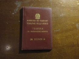 TESSERA DI RICONOSCIMENTO FERROVIE DELLO STATO-1962 - Abonnements Hebdomadaires & Mensuels