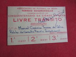 Mozanbique - Moçambique - Association De Football Da Beira - Associação De Futebol Da Beira 1957 Livre Trânsito - Tickets D'entrée