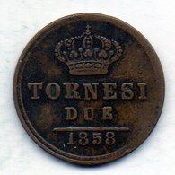 ITALΙAN STATES - NAPOLI & SICILIA, 2 Tornesi, Copper, Year 1858, KM #145b - Other