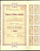 Cie Générale Des TRAMWAYS D'ATHENES ET DU PIREE - Action De Dividende - Bruxelles - 1899 - Chemin De Fer & Tramway
