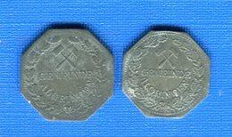 Algrange   57  2  Jetons  10  Pf  +5  Pf - Monétaires / De Nécessité