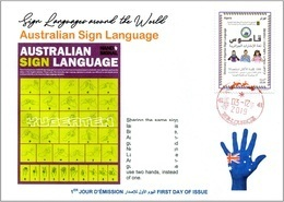 ALGERIA 2019 FDC Sign Language Disabled Handicap Deafness Deaf Taubheit Surdité Taub Sordera Australia Alphabet - Handicap