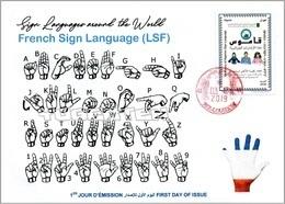 ALGERIA 2019 FDC Sign Language France Handicap Deafness Deaf Taubheit Surdité Taub Sordera Alphabet Disabled - Handicap