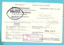 Kriegsgefangenenpost ,naar OFLAG VIII, Met Stempel RETOUR NACH En Ingevuld NAMUR - Lettres