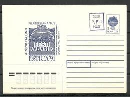 Estland Estonia 1992 Provisional Handstamp Surcharge P.P.I Stationery Cover - Estonia