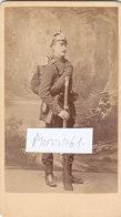 Foto CDV Deutscher Soldat Neu Strelitz Pickelhaube Zündnadelgewehr Feldflasche 1870/71 - War, Military