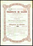 TRAMWAYS DE KAZAN S.A. (2) - OBLIGATION AU PORTEUR De 300 Frs - 7.000 E.A. - Bruxelles - 1894.. - Chemin De Fer & Tramway